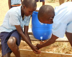 Students at Kimelok now have clean water for a handwashing station outside of their latrines. The gift of a water tank means not only clean water to drink but also improved hygiene for the students.