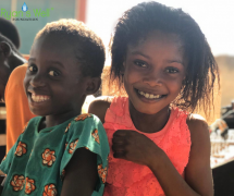 Cute Girls (Agali & Mantu) from Hwediem-Wioso Health Centre said the new well is 'magical', Ashanti Region, Southwest Ghana - December 2019
